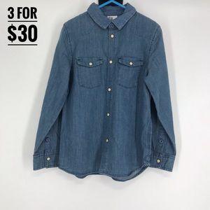 NWOT H&M new kids blue denim button up boys7-8yr